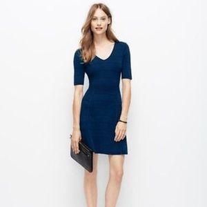 Ann Taylor Navy Fit & Flare Sweater Dress Sz XS